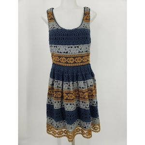 Anthropologie Maeve Striated Crochet Lace Dress